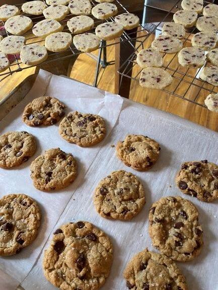 Cookies on trays